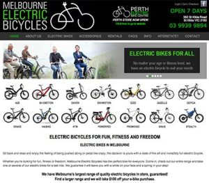 Melbourne Electric Bicycles - website developed by En Pointe